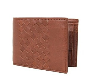 Bottega Veneta Brown Woven Leather Coin Pocket Bifold Wallet