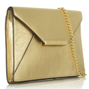 Michael Kors Lana Pale Gold Envelope Clutch Leather
