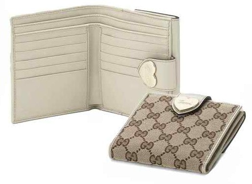 Gucci Original Canvas and White Leather Heart French Flap