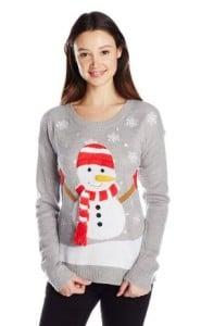 It's Our Time Juniors' 3D Snowman Cute Christmas Sweater