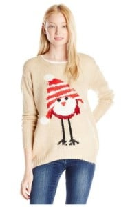 Jolt Juniors Bird with Hat Printed Holiday Christmas Sweater