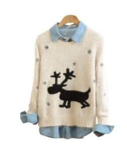 Shine flow Christmas Sweater Rudolph Reindeer in Snow Sweatshirt Limited Edition