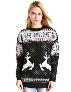V28 Women Christmas Reindeer Snowflakes Sweater Pullover